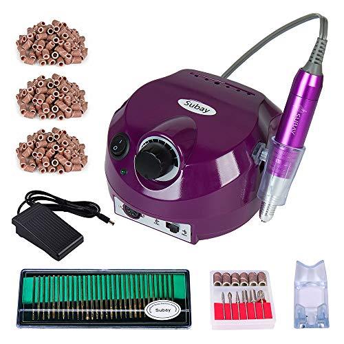 SUBAY Torno para uñas 30000 rpm máquina de pulido de uñas eléctrica profesional de Manicura Pedicura + 30 aguja de pulido +300 bandas de lijado Púrpura