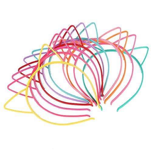 Frcolor Partido plástico Headwear del maquillaje de Hairbands del arco del gato de Hairband del gato de la venda del oído del gato 10pcs Headwear para las muchachas de las mujeres