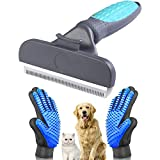 YanXi Self Cleaning Pet De-Shedding Brush Set for Dog & Cat, Grooming Brush Professional Pet Grooming Tool Kit for Long,Puppy Hair Remover Comb, Soft Rubber Glove (Blue)
