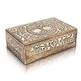 Great Birthday Gifts Handmade Decorative Wooden Jewelry Box Tree Of Life Carving Jewelry Organizer Keepsake Box Treasure Chest Trinket Holder Watch Box Storage Lock Box 8 x 5 Inch Housewarming Gift