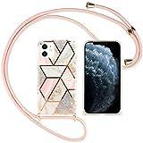Nupcknn Funda Marmol con Cuerda para iPhone 11, Carcasa TPU Suave Silicona Case con Correa Colgante Ajustable Collar Correa de Cuello Cadena Cordón(Oro Rosa)