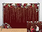 DANIU Red Flowers Flowers Wedding Backdrop 6x4FTGolden Glitter Birthday Engagement Party Bridal Shower Photography Background Girl Adults Anniversary Decor Props
