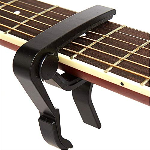 Guitar Capo,acoustic Guitar String,Electric String Electric Guitar Capo- Banjo and,for Acoustic,Ukulele, Mandolin, Bass, Picks Black Single Handed Capo