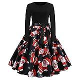 Mnyycxen Women Santa Claus Print Patchwork Long Sleeve Christmas Dress O Neck Party Swing Midi Dress with Belt Black