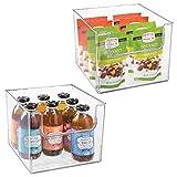 mDesign Juego de 2 cajas de almacenamiento de alimentos – Organizador de frigorífico, armario o arcón congelador con frontal abierto – Caja de plástico para frigorífico sin BPA – transparente