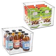 "mDesign Plastic Open Front Food Storage Bin for Kitchen Cabinet, Pantry, Shelf, Fridge/Freezer - Organizer for Fruit, Potatoes, Onions, Drinks, Snacks, Pasta - 10"" Wide, 2 Pack - Clear"