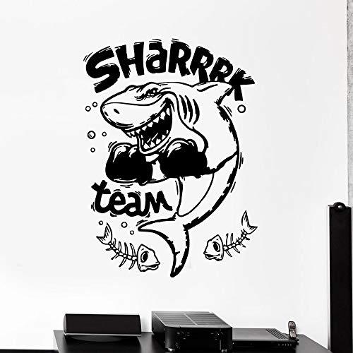 Tianpengyuanshuai Wilder Fisch Wandtattoo Fisch Inschrift Boxen Sport Tier Vinyl Aufkleber Boxclub 63X85cm