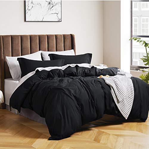 Bedsure Duvet Cover Queen Size Black - Queen Duvet Cover Comforter Cover Bedding Set with Zipper...