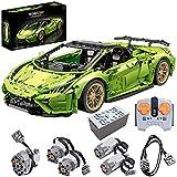WWEI Coche deportivo teledirigido modelo de coche de carreras con motores, juego de construcción con bloques de sujeción, compatible con Lego Technic-verde