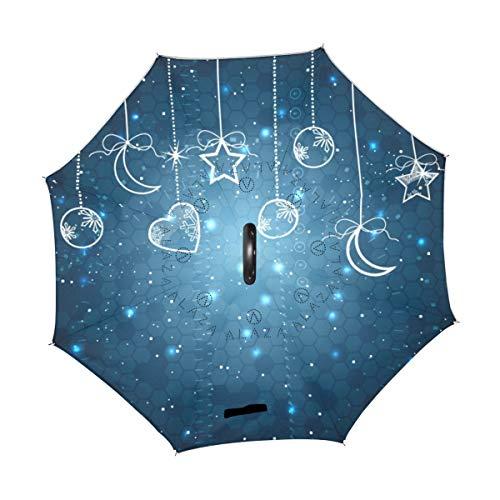rodde Paraguas Feliz Navidad Invierno Nieve Año Nuevo Luna Corazón Amor Inverso Invertido Reversible Lluvia del Sol para el automóvil Uso en Exteriores con Mango en Forma de C