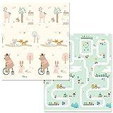 Alician - Alfombra de Juegos para bebé (Doble Cara), diseño de Dibujos Animados, Ciudad de los sueños + Animales del Bosque, 180cm * 160cm * 1.0cm