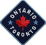 2 x Canada Ontario Toronto Aufnäher gestickt 75 mm / Kanada Ahorn Patch Aufbügler Sticker Flicken Bügelbild Bügelflicken Fahne Flagge Flagg / Patches zum Aufnähen oder Aufbügeln / Reiseführer Karte