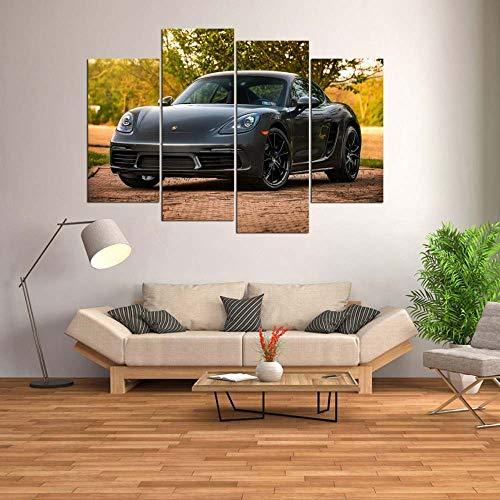 KOPASD Bilder Wandbild 160x100cm Leinwandbild Porsch Cayman Sports car 4 Stücke Leinwand Wohnzimmer Dekoration Wandkunst Malerei Tapeten Poster