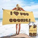 Asciugamano da campeggio da viaggio ad asciugatura rapida, citazione di San Valentino con asciugamano da bagno con stelle artistiche a forma di biscotto riempito con crema al cioccolato 160X80 cm