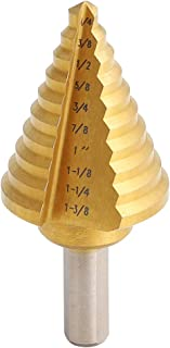 COMOWARE Step Drill Bit - Titanium Coated, Double Cutting Blades, High Speed Steel, Short Length Drill Bit, Total 10 Sizes