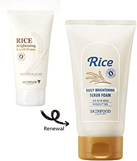 SKIN FOOD Rice Daily Brightening Scrub Foam 5.07 oz. (150ml) - Hypoallergenic Micro Fine Rice Bran Facial Scrub Foaming Cleanser, Skin Exfoliating with a Dense Foam
