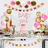ZSQQSCL Decoraciones Fiesta Cumpleaños,Cute Pink Girl Globo Set (34 Pcs), Rosa Banner De Cartón, Coloridas Borlas De Bola De Papel, Globos De Látex Multicolor para Niños, Adulto,Cumpleaños Decoración