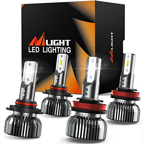 Nilight E1 9005 H11 LED Headlight Bulbs Kit, 350% Brightness, 100W 20,000 Lumens HB3 High Beam/ H11 Low Beam LED Bulbs Combo, 6000K Cool White, Mini Size, 4-Pack