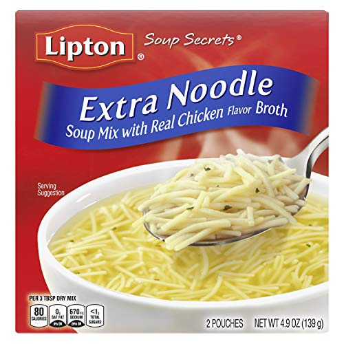 Lipton Soup Secrets Instant Soup Mix For a Warm Bowl of Soup Extra Noodle Soup Made With Real Chicken Broth Flavor 4.9 oz 2 ct, Pack of 12