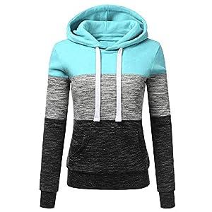 VECDY Damen Pullover,Räumungsverkauf- Herbst Frauen Langarm Hoodie Sweatshirt Pullover mit Kapuze Baumwollmantel Pullover Lässige hohe Kragen warmen Pullover Hoodie (38, T-Marine)