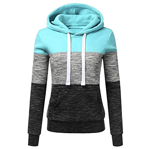 FONMA Fashion Womens Casual Hoodies Sweatshirt Patchwork Coat Hooded Blouse Pullove Blue