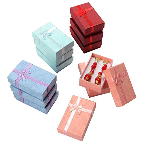 Yahee365 12 x Schmuck Etui für Kette, Ohrring, Ring Schmuckkästchen Geschenkbox -Farbmix