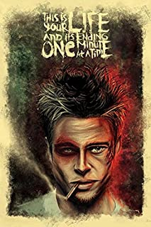 makeuseof A138 Brad Pitt Actor Painting - Fight Club Poster Art Wall Pictures for Living Room in Canvas fabric cloth Print