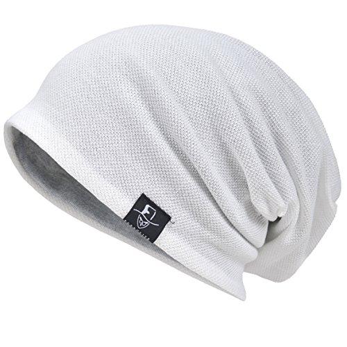 Hommes Bonnet Cool Slouch Beanie Mince Été Crâne Hip-hop Chapeaux (301-Blanc)