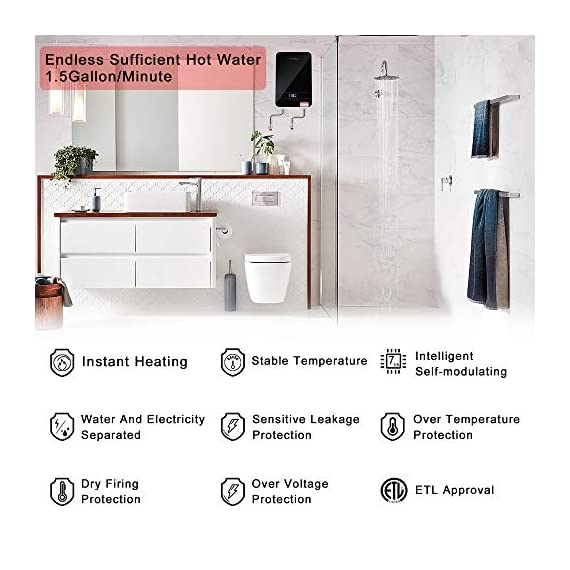 """Tankless water heater electric ecotouch 9kw 240v on demand water heater self-modulating instant hot water heater point… 3 【hot water: instant&endless】 with 9kw tankless water heater electric eco90, you can easily get sufficient hot water of even 116℉or higher. Instead of storing water and long time heating, eco90s electric tankless water heater provides you no waiting instant hot water, nor temperature fluctuations, bringing you instant hot and excellent experience of comfort anytime you want. 【intelligent self modulation】 as water flow reduces, power input decreases: eco90s electric hot water heater intelligently adjusts power input and water temp in real time, which gets you the ideal temp and comfortable hot water. Better still, smart self modulation makes the on demand hot water heater achieve 99. 8% optimal energy efficiency, thus, it will help cut the electricity bill for you. 【upgraded heating system】featuring micro-computer control and patent heating technology, eco90s electric tankless water heater perfectly achieves water heating, keeps outlet temp stable at your need, and promises no """"cold water sandwiching"""". Unique heating element avoids any corrosion inside pipes so as to extend service lifespan of the unit."""