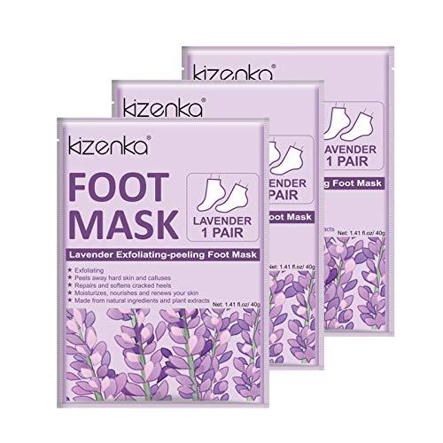 Foot Mask, kizenka Exfoliating Foot Peel Mask Socks Fußmaske, Lavender Fußpeeling-Maske Moisturising to Schwielen erweichen, Berührungsfüße weicher machen und die harte Haut entfernen - 3 Pairs