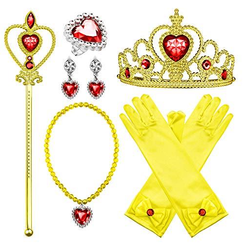 Comius Sharp Prinzessin Kostüm Zubehör Set, 8 Stück Prinzessin Verkleiden Geschenk Prinzessin Krone Zauberstab Handschuhe Ohrring Halskette Ring Prinzessin Schmuck (Yellow)