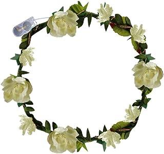 🍀Libobo🍀LED Flowers Wreath Headband Crowns Flower England Boho for Festival Wedding (Beige)