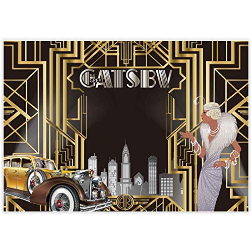 Allenjoy 7x5ft Gatsby Themed Backdrop for Adult Celebration Retro Roaring 20s 20s Party Art Decor Happy 1st Birthday Wedding Decoration Pictures Background Supplies Photo Booth Prop