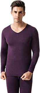 Fulision Men's Thermal Underwear Sets Long Johns V Neck Warm Thick Soft Breathable Elastic Slim Winter Man Long Sleeve Tops and Bottoms Trousers Set Ski Wear