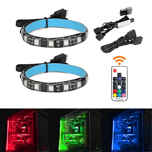 RGB LED Light Strip with IF Remote Control for Modding PC Case,M/B with 4PIN or Molex Header Compatible with Asus Aura, Asrock RGB Led, Gigabyte RGB Fusion, MSI Mystic Light, 2 PCS SMD5050 Light Strip