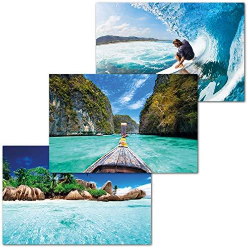 GREAT ART Juego de 3 póster con Motivos Infantiles - Juego de Viaje para Adolescentes – surfero Barco en Tailandia Isla Tropical Verano decoración (DIN A2-42 x 59,4)