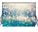 Sensfun 7x5ft Abstract Bling Bokeh Photo Backdrop Gold Glitter Teal Green Glow Halo Spots Photography Background for Baby Shower Birthday Carnival Party Banner Children Portrait Studio Props (ZLA33)