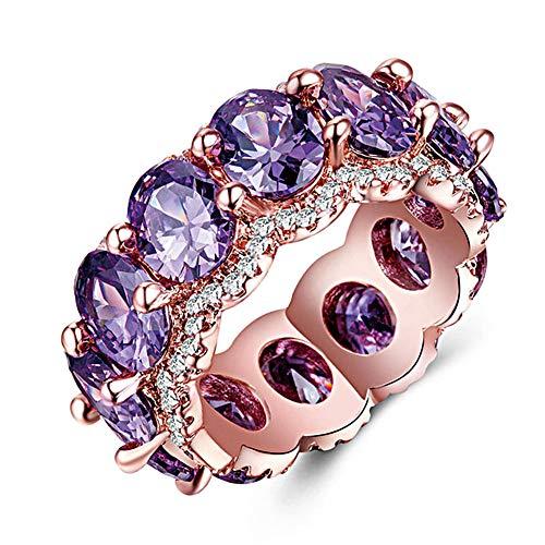 HXML Señora del Anillo Cobre y Oro Rosa Plateado Anillo con Incrustaciones de circonio Anillo de Compromiso Color Opcional el diseño de Diamante Completo Brillante Lujoso más Confianza,Púrpura
