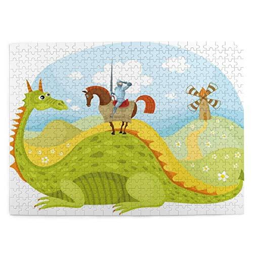 500 piezas puzzles para niños 52*38 cm de madera Fantasía Caballero Don Quijote Con Caballo En El Valle Del Dragón Medieval Imagen de Cuento de hadas Regalo para Niña Niño Niños Adulto