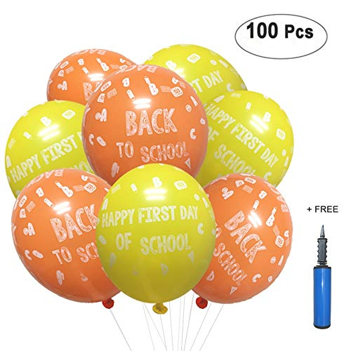 Back to School Decoration Balloon, Happy First Day of School Sign 1st Preschool Photo Prop for Kindergarten Classroom Welcome Teacher Student Party Favors Supplies Decor 100 Pack with 12 Latex Pump