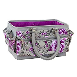 Crafters Companion CC-STOR-DELTOTE Deluxe Tote Case-Floral Crafting Storage Bag-Grey & Purple, One Size