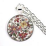 CAISHENY Charm Mandala Flower Collar 25Mm Glass Cabochon Jewelry Mandala Symbol Bohemia Ladies Silver Plated Colgante Mujeres