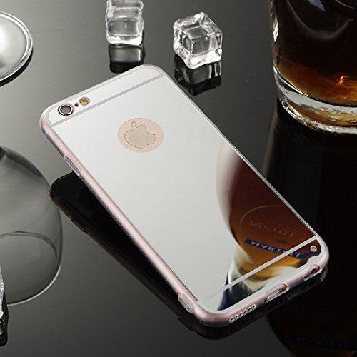 Sycode Moda Specchio Riflessione Morbida Bumper Ultra Sottile TPU Custodia Copertura Mirror Caso per iPhone 8/7-Argento