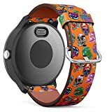 Replacement Leather Strap Printing Wristbands Compatible with Garmin Vivoactive 3 / Vivoactive 3 Music/Vivomove - Psychedelic Skulls Vector Seamless Pattern on Orange Background
