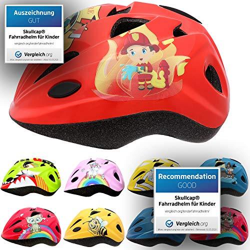 Skullcap® Roter Kinderfahrradhelm für Jungs & Mädchen Helm für Inliner Rollschuh Schlittschuh Scooter Longboard Roller Kinderhelm Motiv: Feuerwehrmann, Größe: S