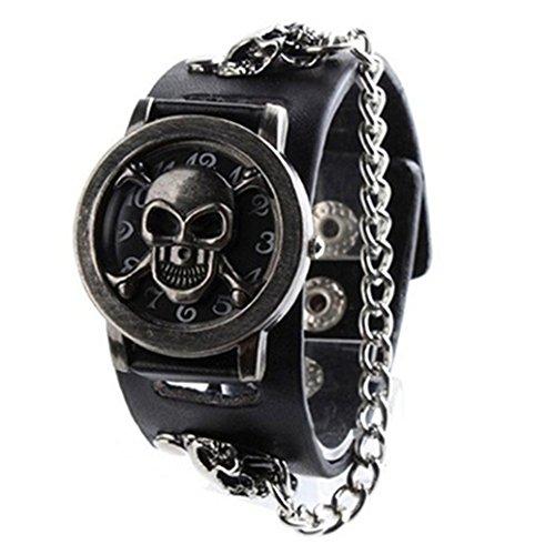 Display08 - Reloj de Pulsera para Hombre, diseño de Calavera, Correa de Piel sintética, Color Negro
