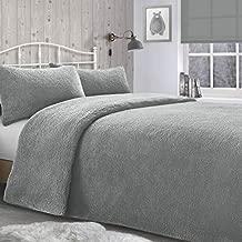 Velosso Teddy Bear Super Plush Warm Fuzzy Cuddly Fleece Thermal Bedding Set (Silver Grey, Double Bed)