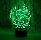 Nuevo Pez 3D Luz Nocturna Pesca Interruptor Táctil Encantador 7 Cambio De Color Lámpara 3D Regalo Para Luces De Habitación De Bebé