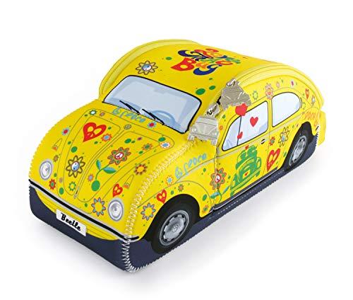 BRISA VW Collection - Volkswagen Coccinelle Voiture Beetle 3D Trousse de Maquillage, Sac à cosmétiques/de Culture, Nécessaire de Toilette, Étui de Voyage, Pochette Universel, Lunch-Box (Flower/Jaune)