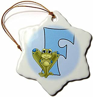 Christmas Ornament Doreen Erhardt Baby Monograms - F is for Frog in Blue for Boys Baby and Kids Monogram F in Polka Dot Prints - Snowflake Porcelain Ornament